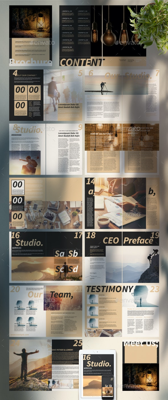 Brochure Template with Tan Accent - Corporate Brochures