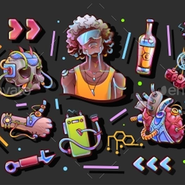 Young Men and Objects in Cyberpunk Style