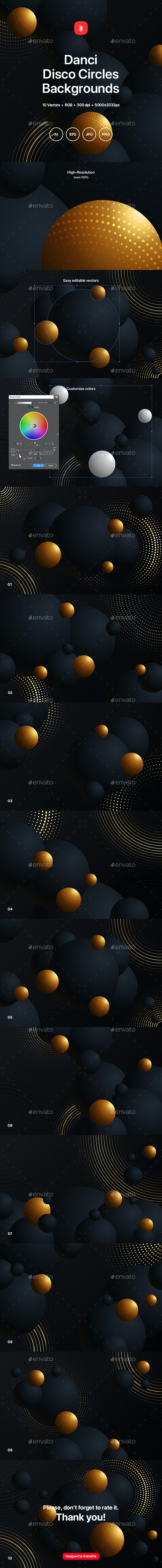 Danci - Disco Circles Backgrounds - Abstract Backgrounds