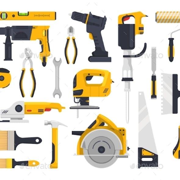 Work Tools Set Construction Carpentry Woodwork