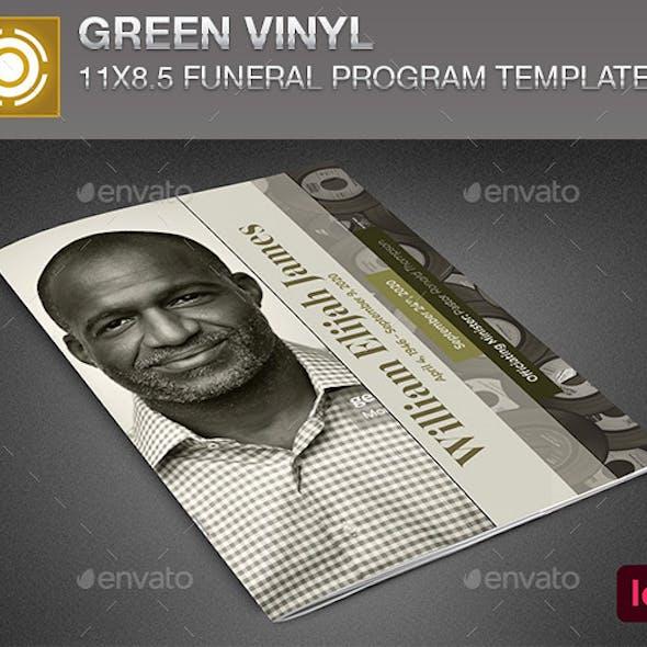 Green Vinyl Funeral Program Template