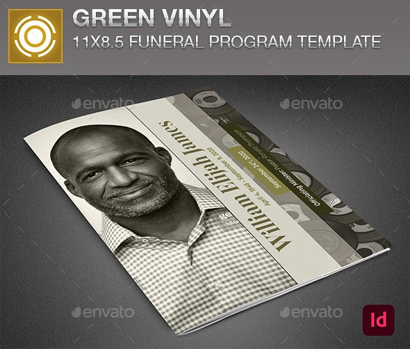 Green Vinyl Funeral Program Template - Informational Brochures