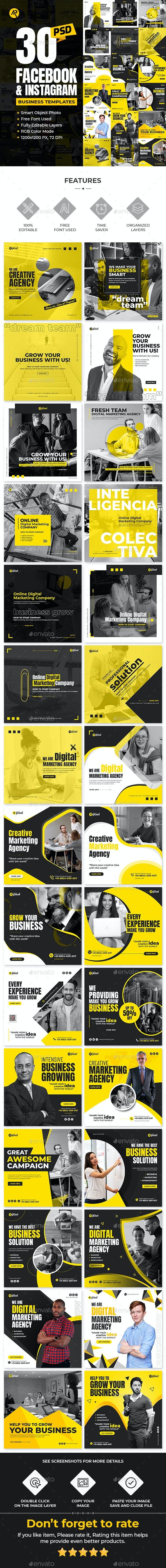 30-Facebook & Instagram Business Banners - Social Media Web Elements