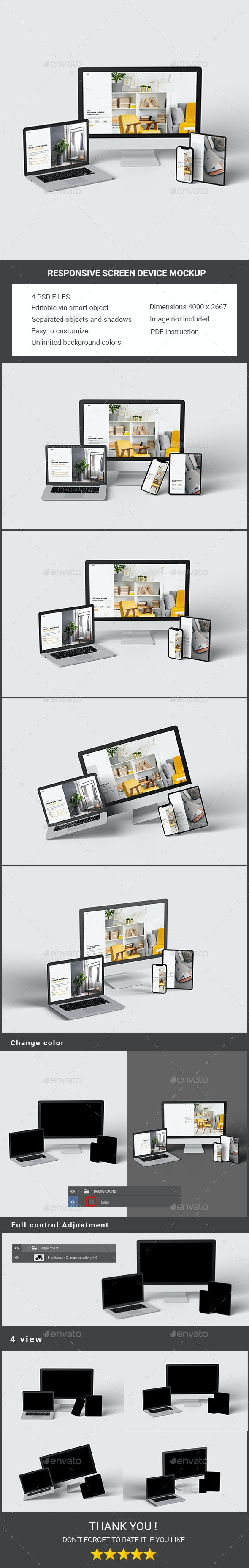 Responsive Screen Device Mockup - Product Mock-Ups Graphics