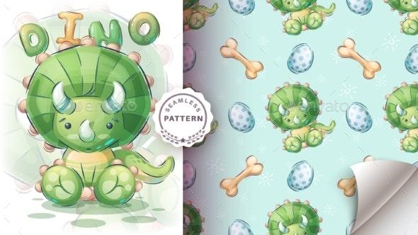 Cute Seat Dino  Seamless Pattern - Animals Characters