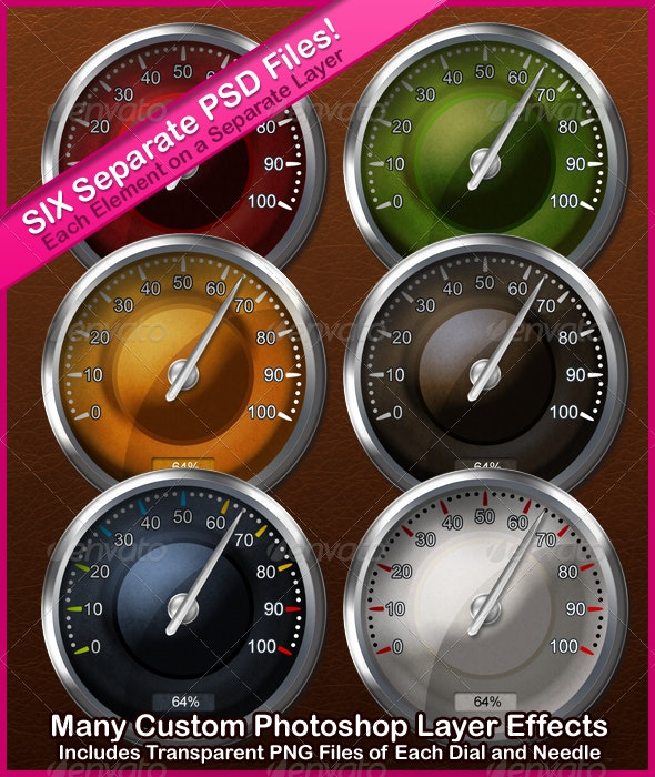 Multi Layered Round Needle Gauge in Six Variations - Miscellaneous Product Mock-Ups