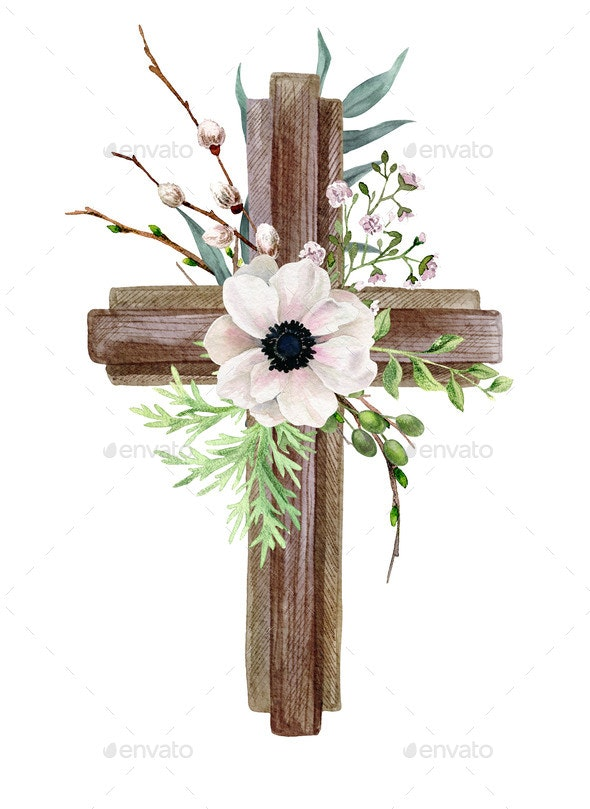 Easter Christian Cross with Anemone Flowers - Decorative Graphics