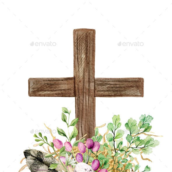 Easter Christian Cross with Green Ferns Eggs and