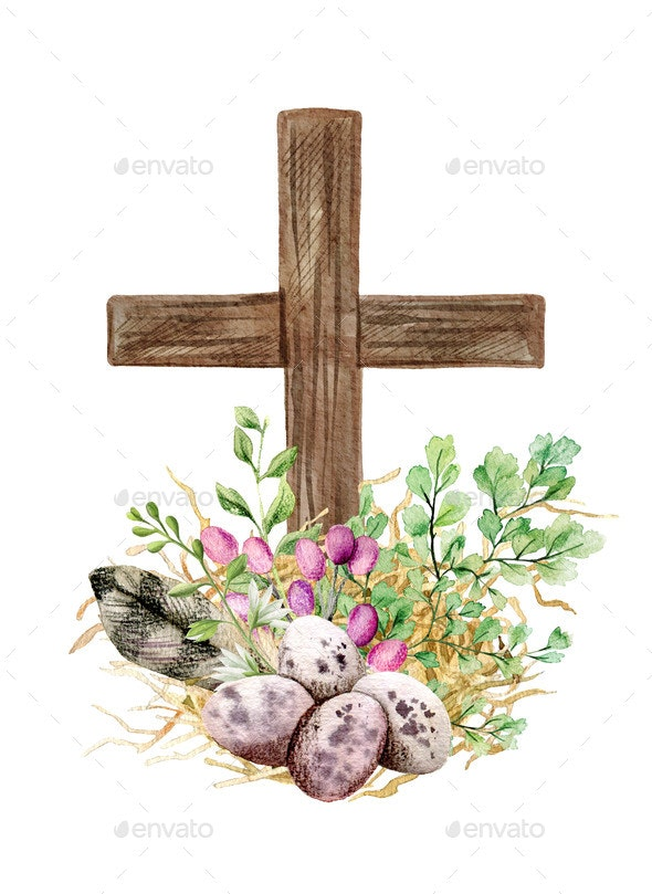 Easter Christian Cross with Green Ferns Eggs and - Decorative Graphics