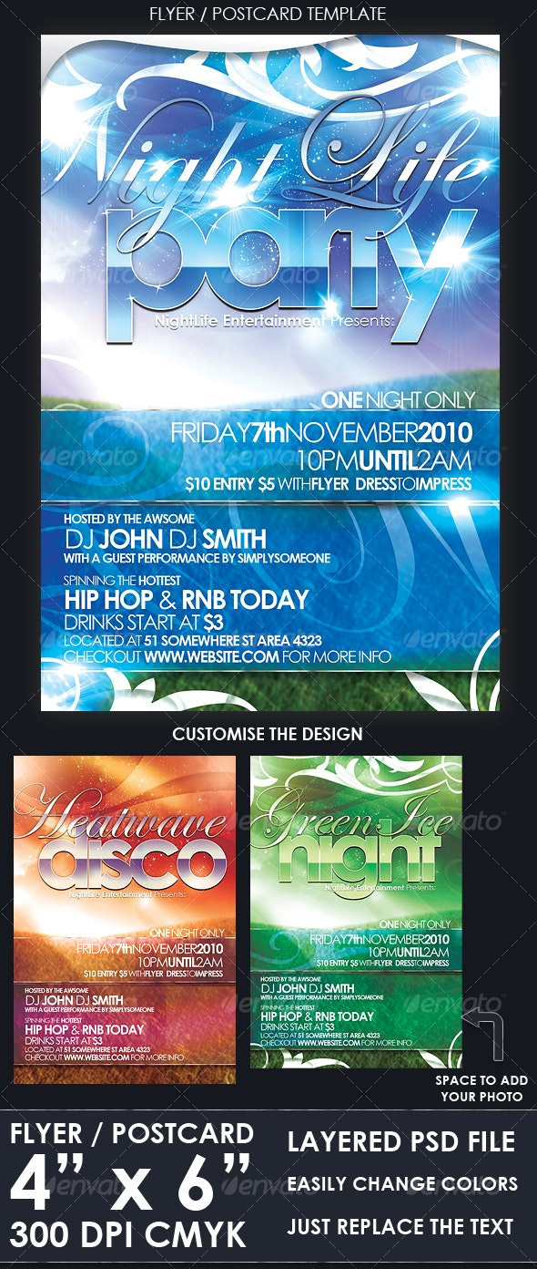 Flyer / Postcard Template - Clubs & Parties Events