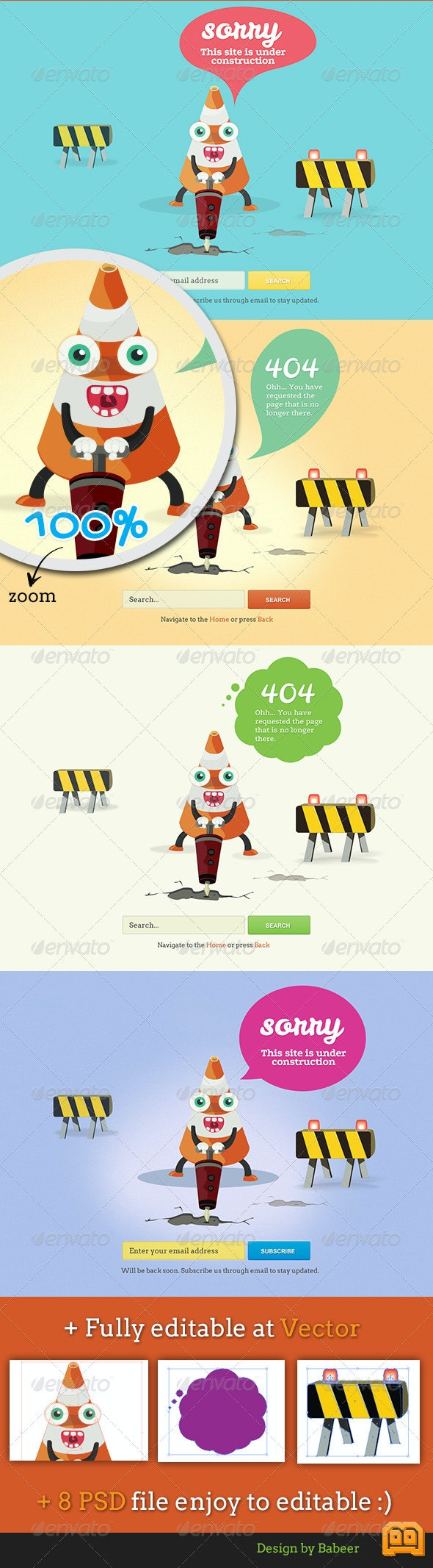 Cone Error 404 Page and Under Construction Page - 404 Pages Web Elements
