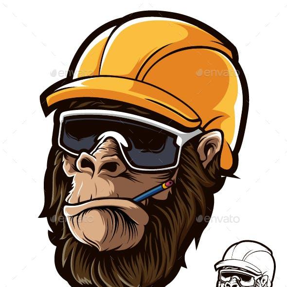 Gorilla Head Worker Helmet Glasses
