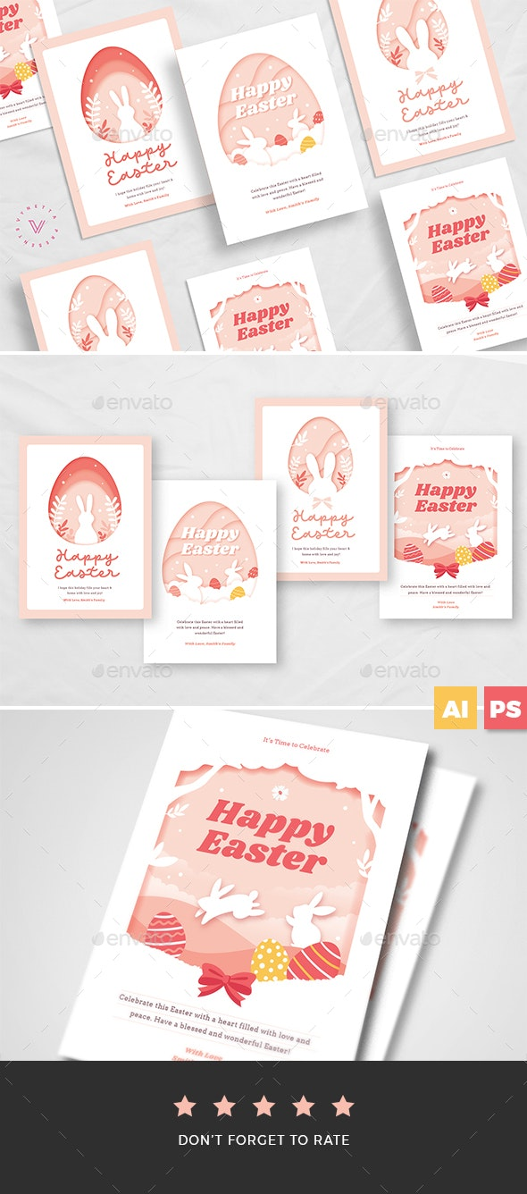 Paper Art Easter Card Template - Easter Greeting Cards