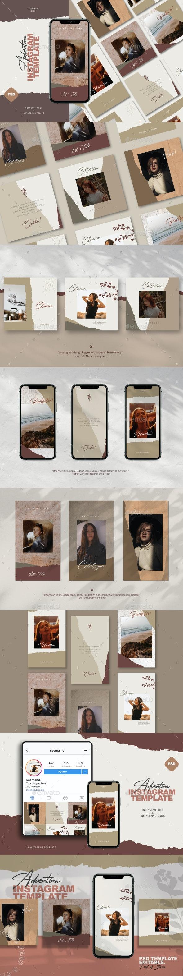 Adventina Instagram Post & Stories - Social Media Web Elements