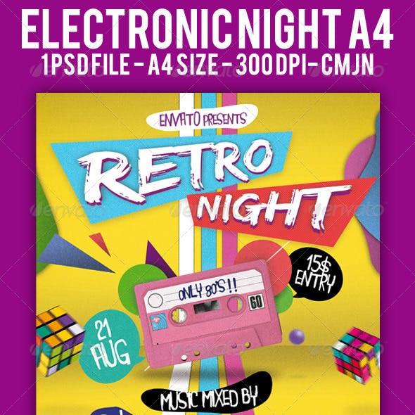 Retro Night Flyer A4