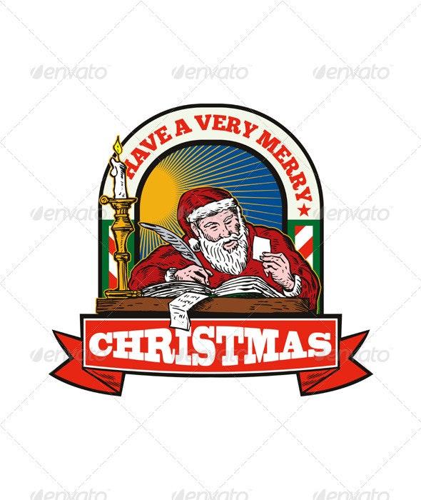 Santa Claus Father Christmas Writing Letter  - Christmas Seasons/Holidays