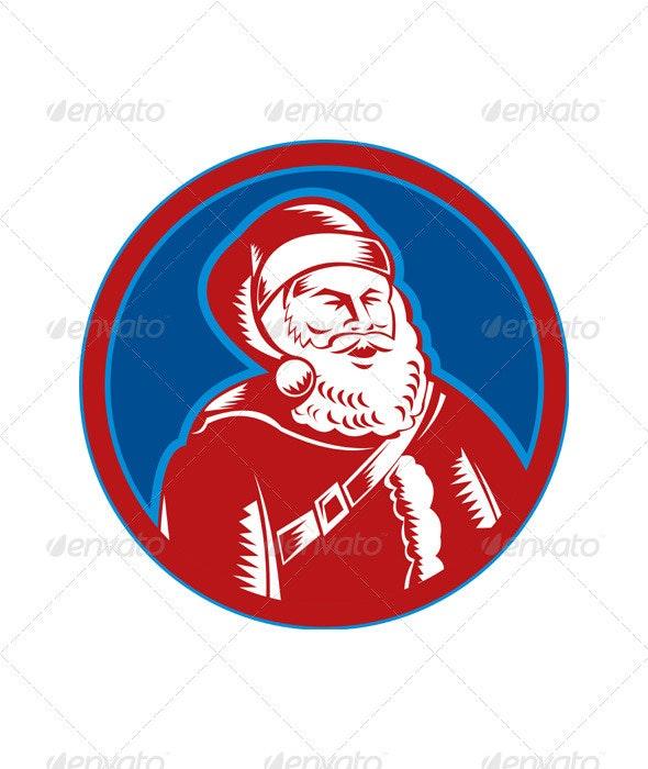 Santa Claus Father Christmas Woodcut - Christmas Seasons/Holidays