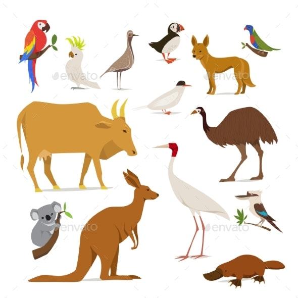 Big Set of Birds and Animals of Australia - Animals Characters