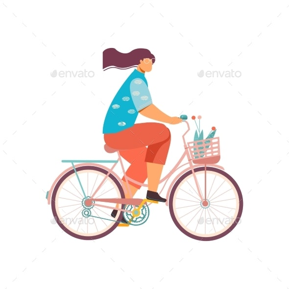 Woman on Bicycle Composition - Food Objects