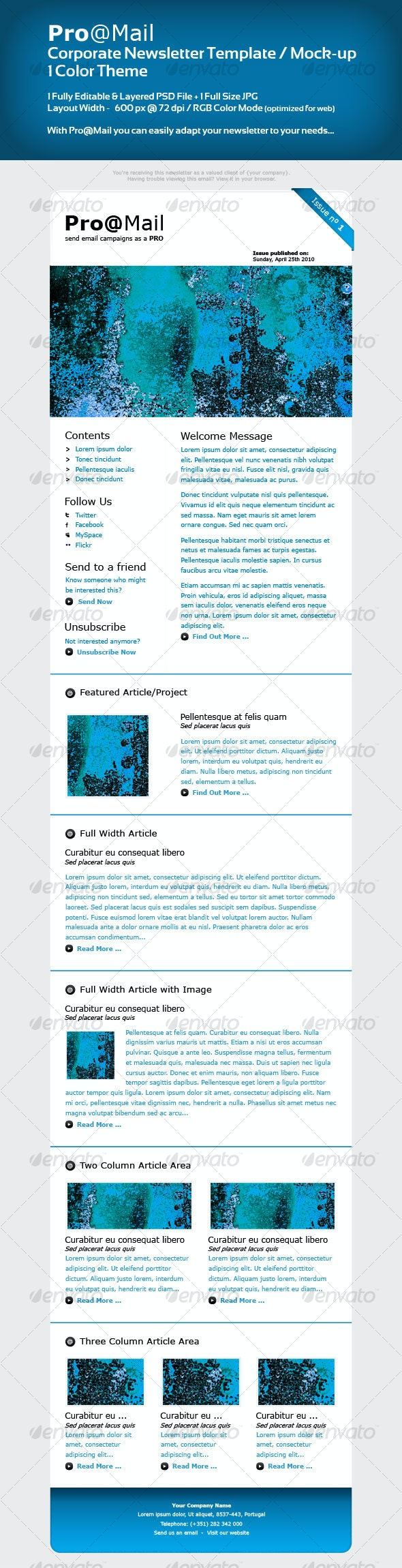 Corporate Newsletter Template / Mock-up - Web Elements