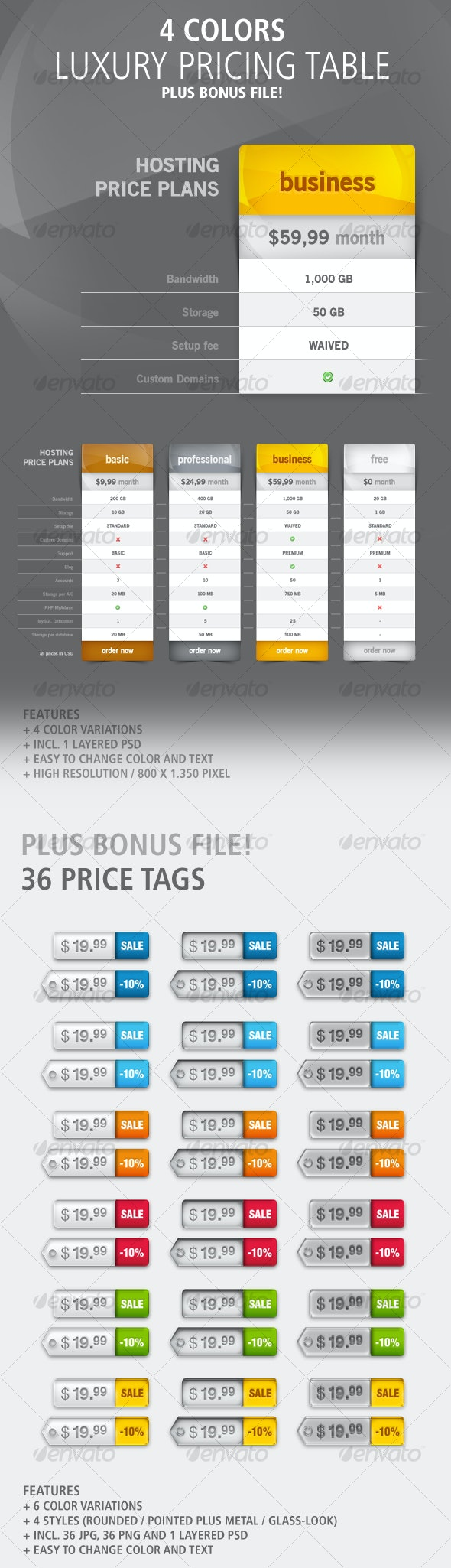 Luxury Pricing Table: 4 Colors - Web Elements