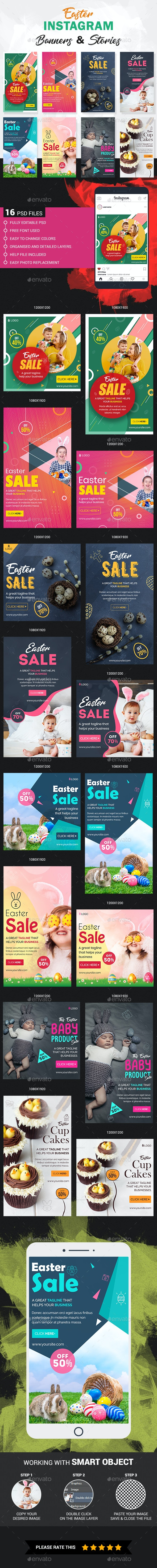 Easter Instagram Story and Banner Templates - Social Media Web Elements