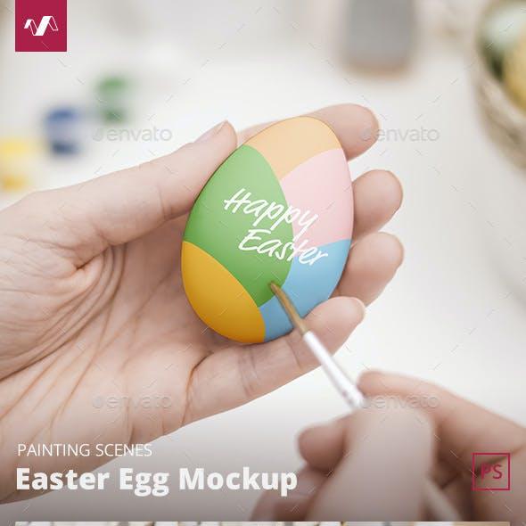 Easter Egg Mockup Painting Scene
