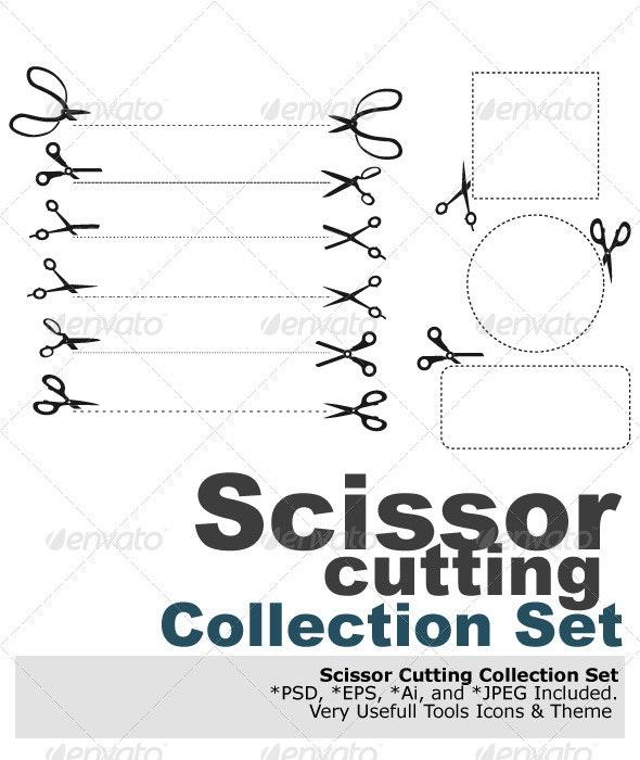 Scissor Cutting - Objects Vectors