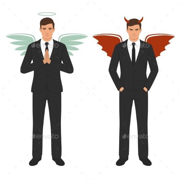 Devil and Angel Businessman