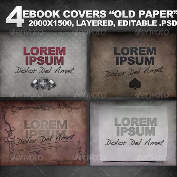 """4 Layered eBook Covers """"Old Paper"""""""