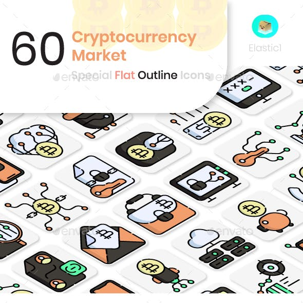 Cryptocurrency Market Flat Outline Icons