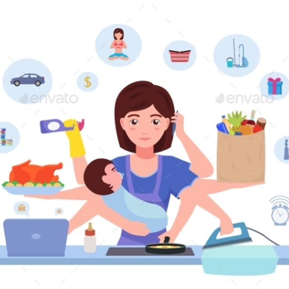 Cartoon Character Multitasking Busy Mom