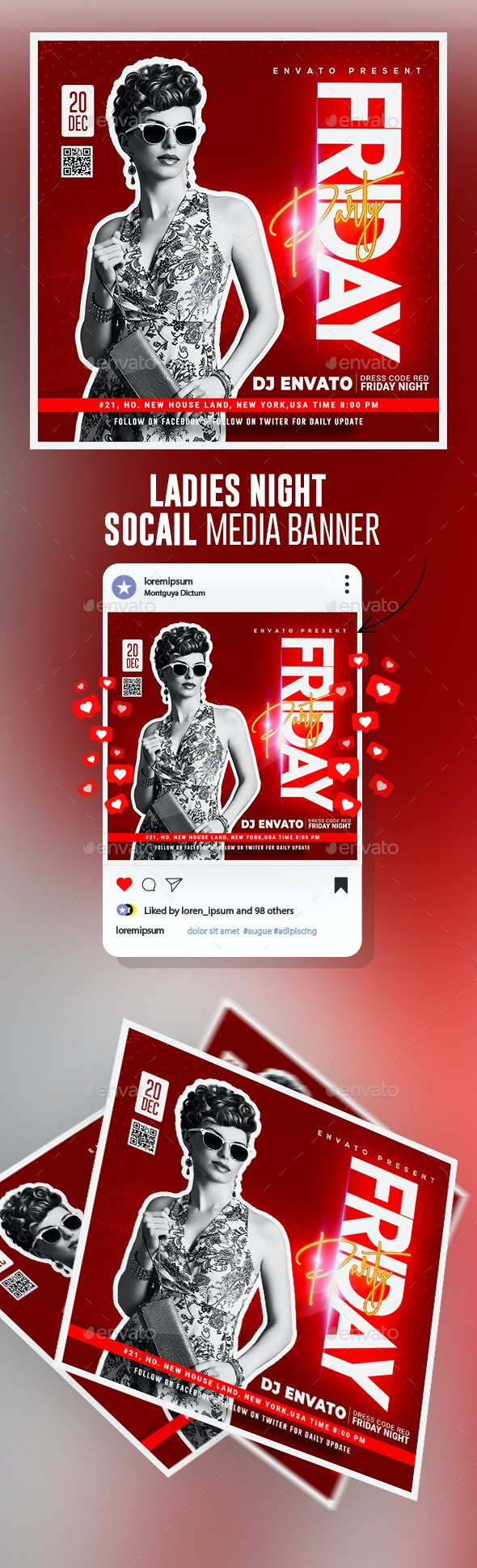 Dj Night Instagram Banner Posts - Banners & Ads Web Elements