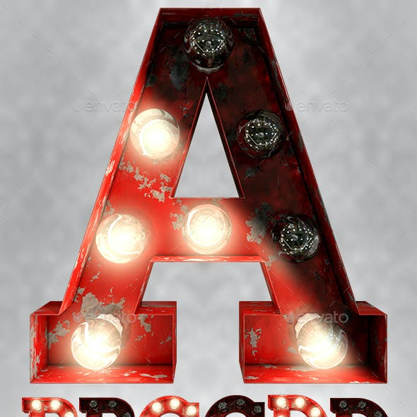 Rusty Old Red Light Bulb Letters