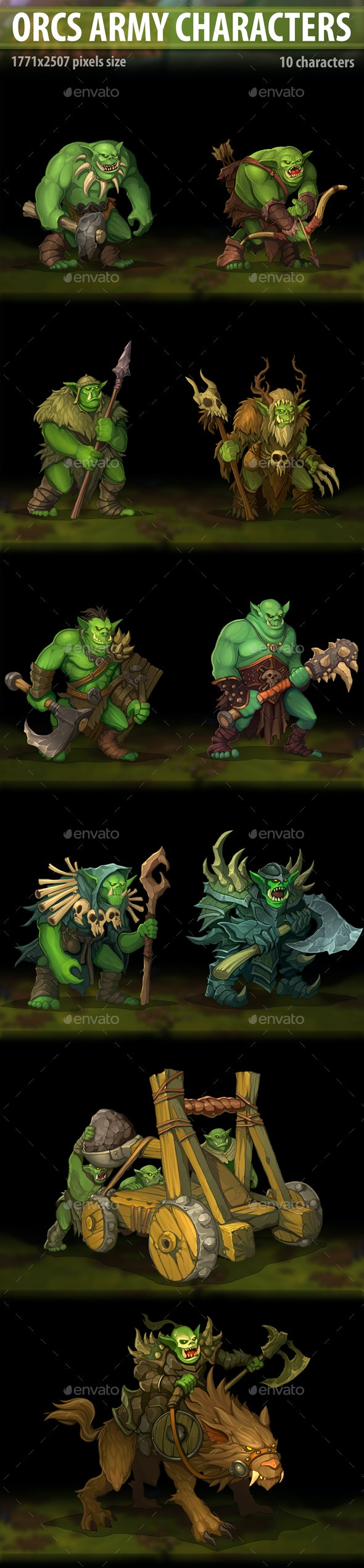 Orcs Army Characters - Miscellaneous Game Assets