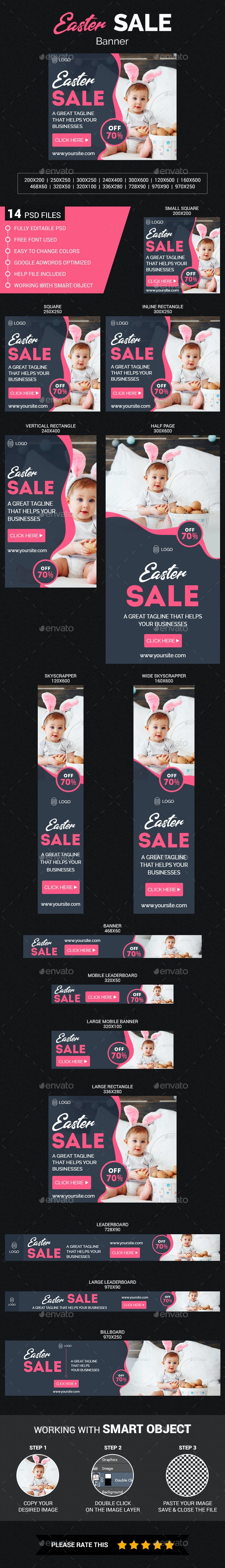 Easter Sale web banners - Banners & Ads Web Elements
