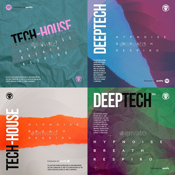 Tech-house Album Cover / Digital Flyer Templates Pack