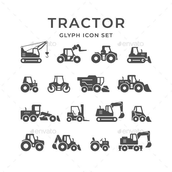 Set Glyph Icons of Tractors