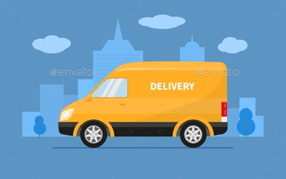Delivery Truck Van Rides on the Background of City - Miscellaneous Vectors