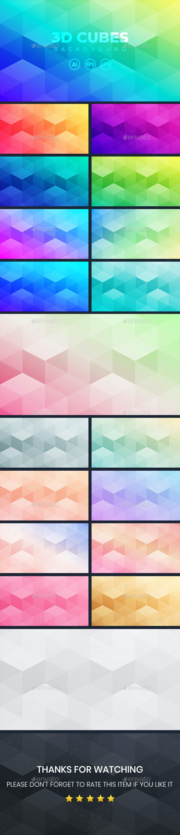 Abstract Gradient Background With 3D Cubes - Backgrounds Graphics