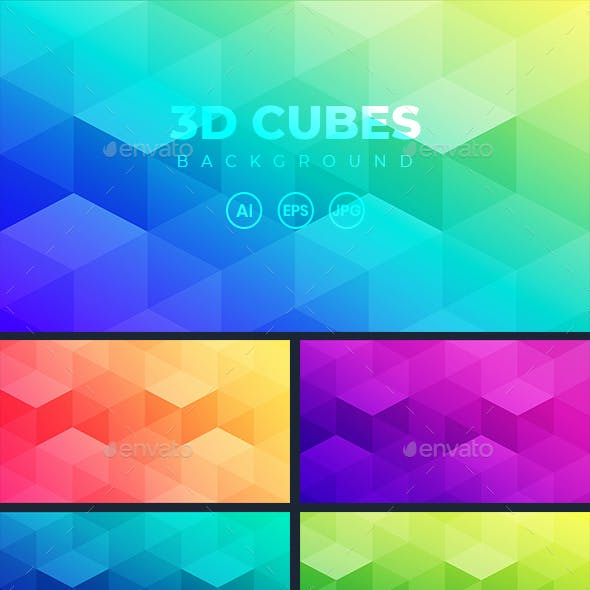 Abstract Gradient Background With 3D Cubes