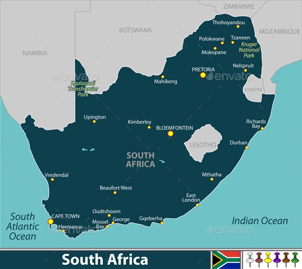 Map of South Africa - Travel Conceptual