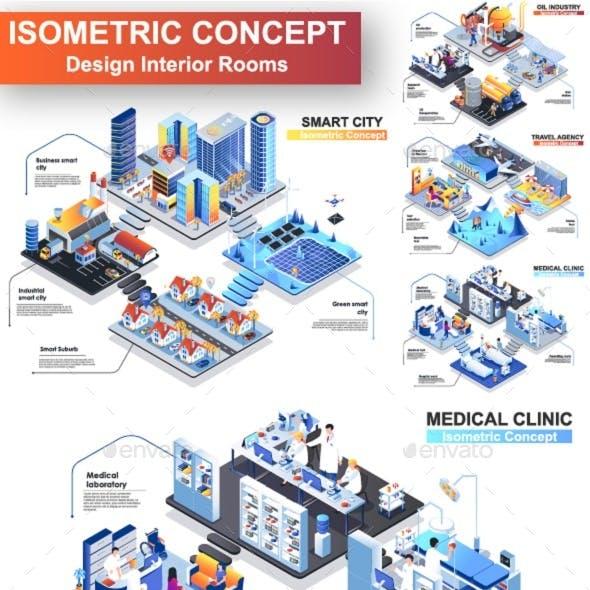 Modern Isometric Concept Vector Illustration