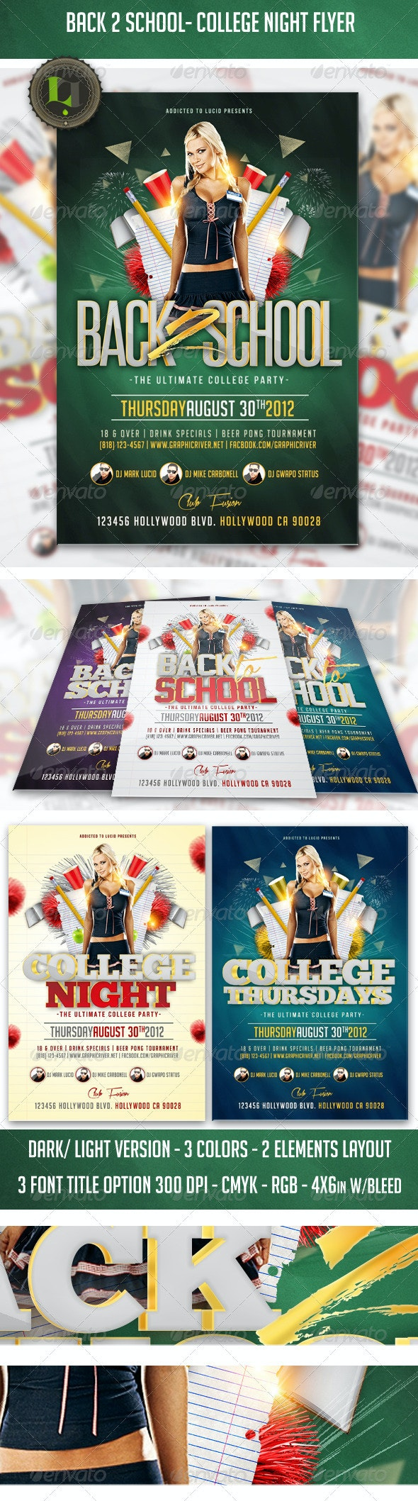 Back 2 School - College Night Flyer - Clubs & Parties Events