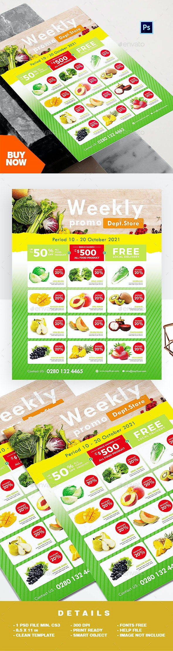 Supermarket Flyer / Grocery Ads Product Catalog Flyer - Commerce Flyers