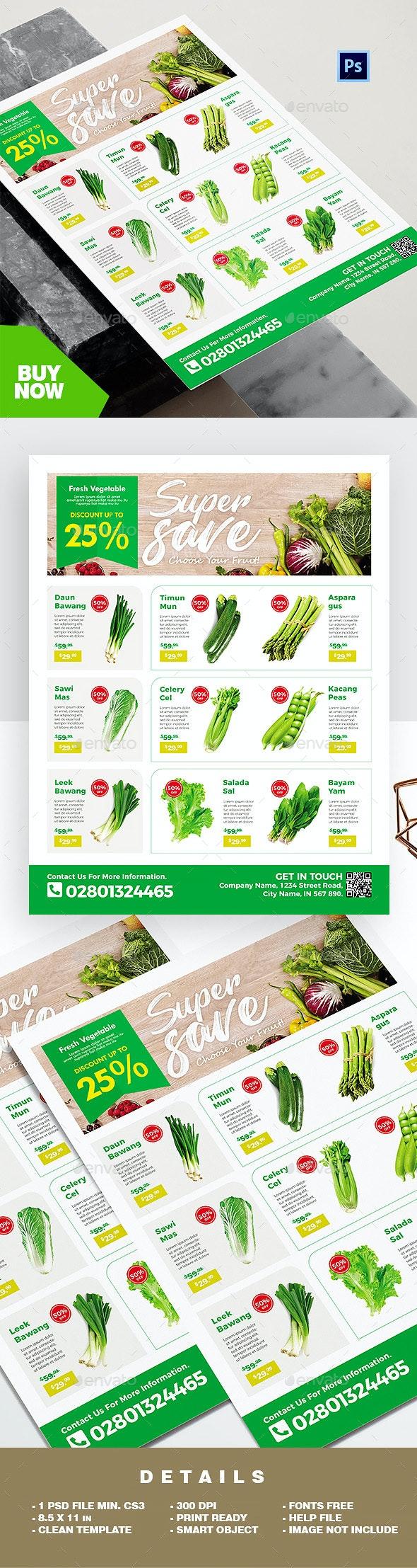 Supermarket Flyer / Fresh Vegetable Product Catalog Flyer - Commerce Flyers