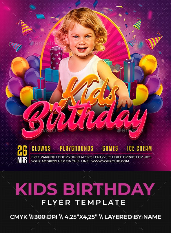 Kids Birthday Flyer - Clubs & Parties Events