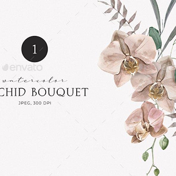 Watercolor Bohemian Orchid Bouquet