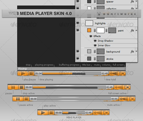 Web Media Player Skin 4.0 - Web Elements
