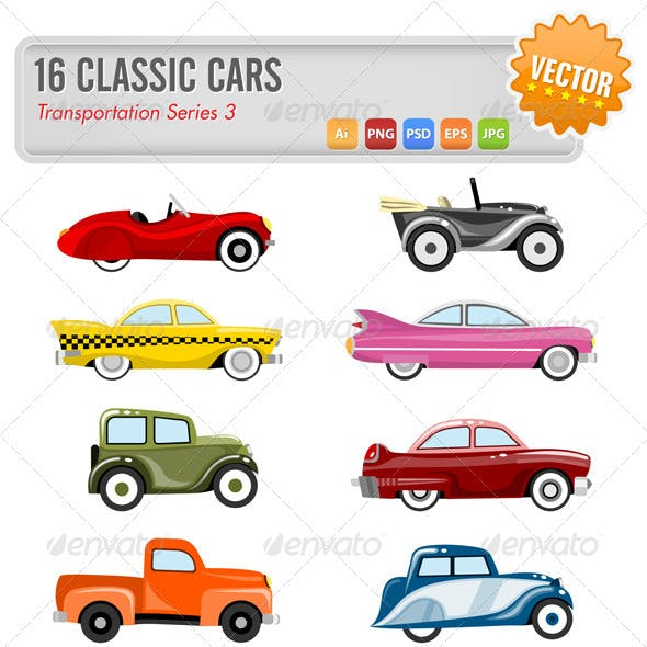16 Vector classic cars